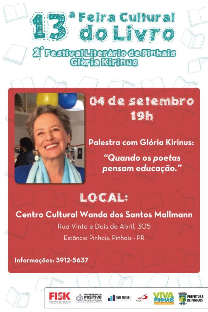 Divulgação da 13ª feira do livro do município de Pinhais PR