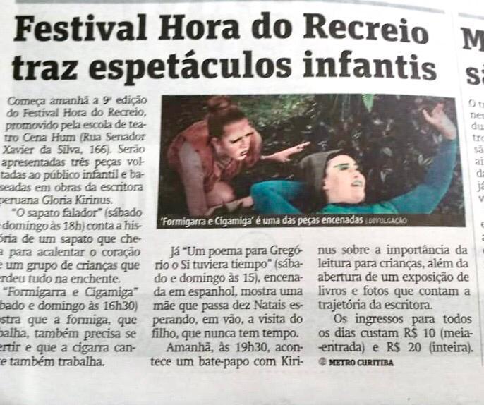 Notícia do Jornal Metro Curitiba sobre o 9º Festival Hora do recreio